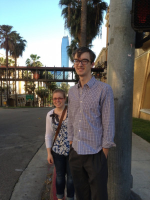 Megan Maccaroni and Andrew Williams head for their first conference (the Annual Meetings of the American Association of Geographers).
