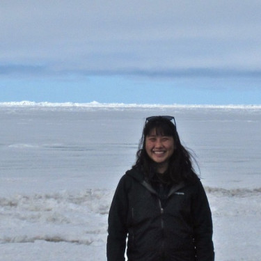 ENV alum Sarah Huang at the Beaufort Sea for ethnographic field work as part of her graduate degree.