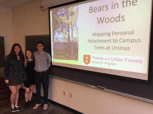 Presenting findings from research on campus trees.