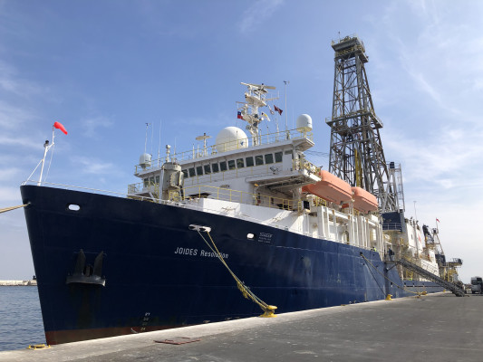 The JOIDES Resolution (Joint Oceanographic Institute for Deep Earth Sampling) drilling vessel on which Jessica Lamarca spent a month as part of the JR Academy. (Photo credits: Beth Orcutt)