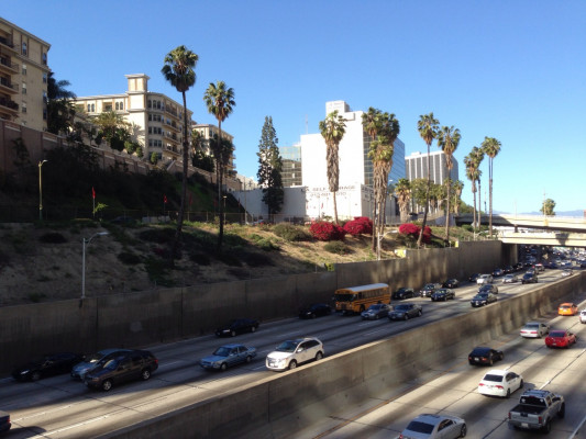 Crossing over the 110 Freeway.