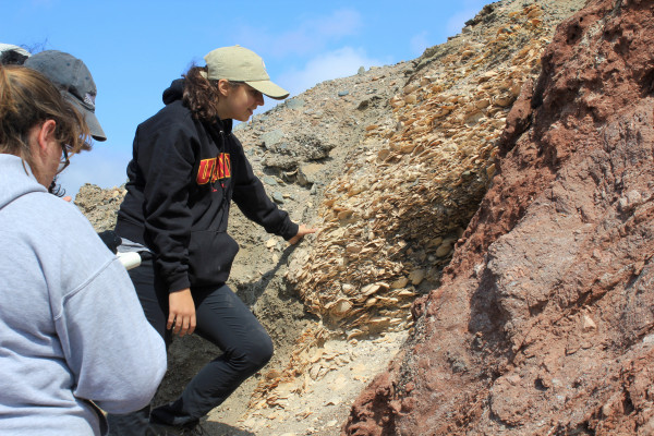 Jess Lamarca inspects a well-defined fault line in the mountains of Antofagasta, Chile.