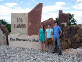 Veronica Sanford '17 (left) and Ethan Haldeman '18 (center) with Patrick Gasda '07 (right) at the Los Alamos National Laboratory in Summer 2016