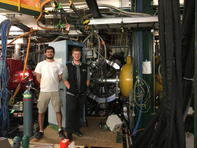Ben Klybor (UC '19) and Sean Gregory (UC '17) with the Ursinus College/NSCL Liquid Hydrogen target and the GRETINA gamma-ray tracking array at the National Superconducting Cyclotron Laboratory in October 2016.