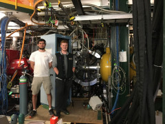 Ben Klybor (UC '19) and Sean Gregory (UC '17) with the Ursinus College/NSCL Liquid Hydrogen t...