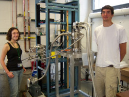 Jessica Palardy and Nick Ferrante with the Ursinus College/NSCL Liquid Hydrogen Target at the National Superconducting Cyclotron Laboratory