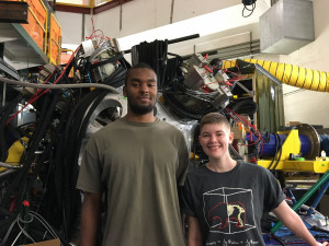 Chase Stine and L. Jarvis with the GRETINA gamma-ray tracking array at the NSCL in June 2016