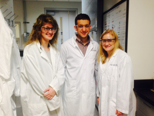 Brittani Schnable '19, Quentin Altemose '18, and Katie Raichle '18 characterized a new material at the Pennsylvania State University.