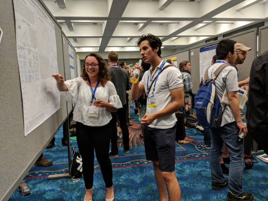 Bianca Gualtieri explains her research at DAMOP 2018 in Ft. Lauderdale, FL.