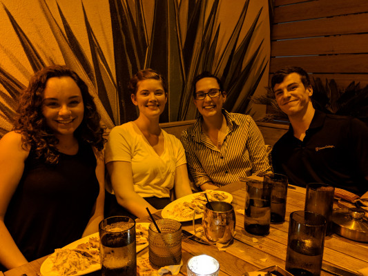 Ursinus researchers Bianca Gualtieri, Leah Jarvis, Zoe Rowley, and Jason Bennett enjoy a night out during DAMOP 2018 in Ft. Lauderdale, FL.
