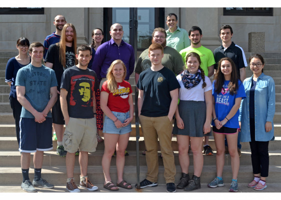 Ursinus Physics majors gather in 2017 to honor the retirement of long-time Physics professor Dr. Doug Nagy.