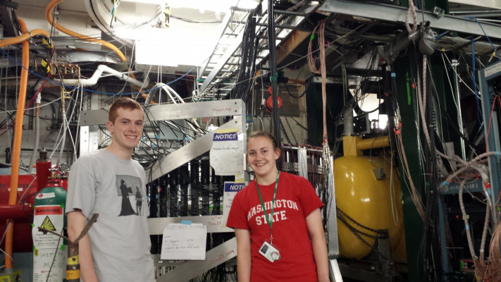 Rose Blanchard '16 and Jon Kustina '16 helped collect data at the National Superconducting Cyclotron Laboratory.