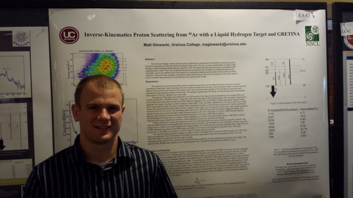 Matt Glowacki '15 presenting his nuclear physics research at a national conference.