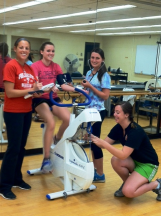 Students take advantage of the opportunity to learn within the Exercise laboratory environment.