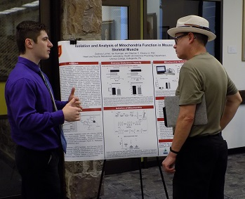 Zack Larmer presents his research on Isolation and Analysis of Mitochondria Function in Mouse Ske...