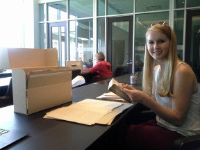 English major Meghan Strong at UPenn, working with Dreiser papers for Summer Fellows