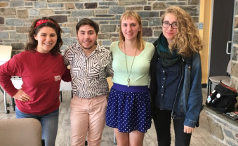 People in photo from left to right: Sophia DiBattista, Robin Gow, Courtney DuChene, and an Ursinus freshman