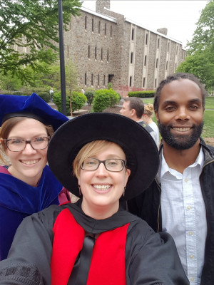 Dr. Daggar, Dr. Throop and Dr. Onaci celebrating at Commencement.