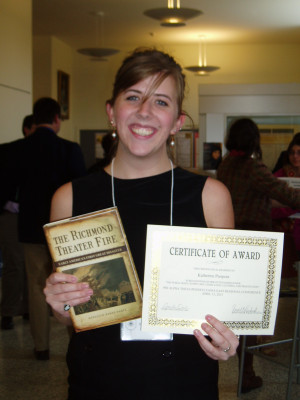 Katherine Pierpont '13, showing off the award she won for her conference paper.