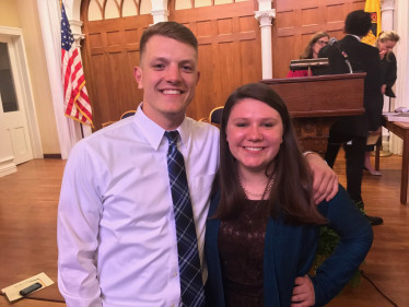 Austin Kurey '17 and Ella McGill '17 at their induction into Phi Beta Kappa.