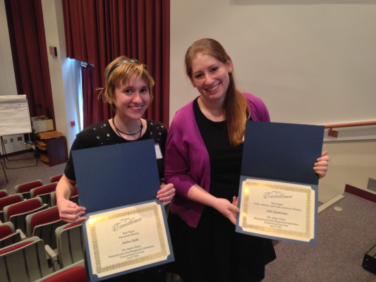 Andrea Kuhn '14 and Julia Glauberman '14 proud of their conference awards.
