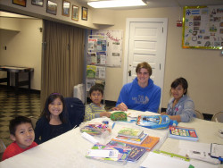 Student tutoring children from the Hispanic community of Pottstown, Pa.