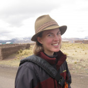 Photo of Katharine Davis in front of a mountain range