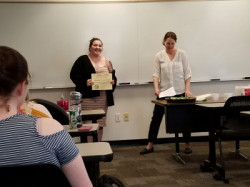 Kaitlyn Lawrence is inducted into the Lambda Alpha Honor Society