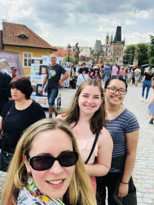 Charles Bridge, Prague, Shelby (UC '22), Alana (UC '22), ECON 223, Study Abroad course in economics, summer 2019.