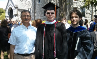 Prof. Andrew Economopoulos, Scott Clayman '15, and Prof. Scott Deacle after the May 2015 commencement. The three co-auth...
