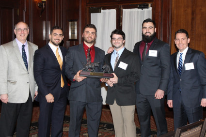 Members of and advisors to the Ursinus CFA Challenge team after winning the Philadelphia region CFA challenge in February 2016.