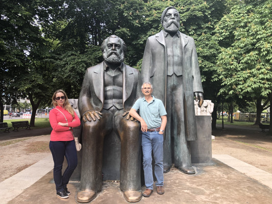 Marx and Engels statue, Berlin, Germany, ECON 223, Study Abroad course in economics, summer 2019.