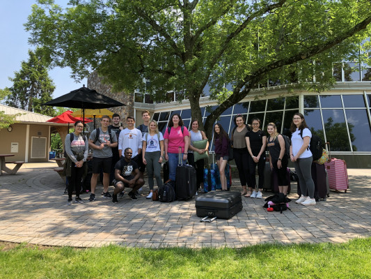 ECON 223 class ready before departure, Collegeville, PA, Study Abroad course in economics, summer 2019.