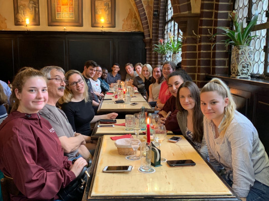 Dinner in Berlin, Germany, ECON 223, Study Abroad course in economics, summer 2019.