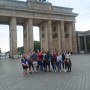 Ursinus students on the Economies in Transition study abroad trip stand in front of the Brandenbu...