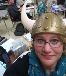 Julie Winkler (Post-Bac) teaching Beowulf during her student teaching experience at Perkiomen Valley High School.