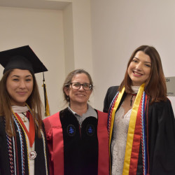 Rose Tailassane '19 and Charlotte Rohrer '19 with Dr. Rebecca Evans