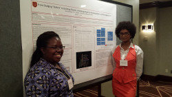 Alexzandria Luben and Stephanie Gardner present their poster at the Society for the Study of Human Development (SSHD).