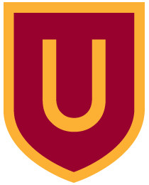 "The current visual identity uses the letter ""U"" in a crest."
