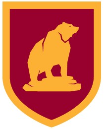 This crest incorporates an image of a grizzly bear.