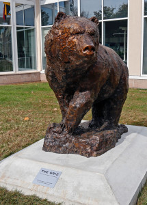 Members of the Class of 1963 donated The Griz statue to commemorate their 50th reunuion.