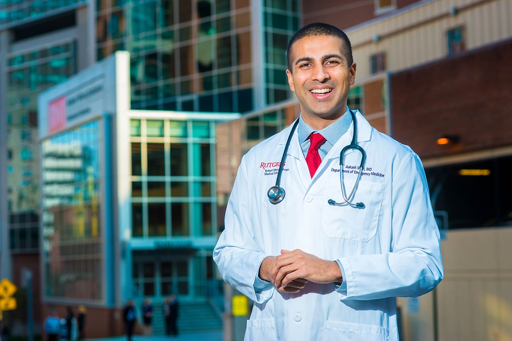 Dr. Aakash Shah poses for a photograph outside Robert Wood Johnson Hospital Wednesday, November 16, 2016 in New Brunswick, New Jersey. (Photo by William Thomas Cain/Cain Images for Ursinus College)