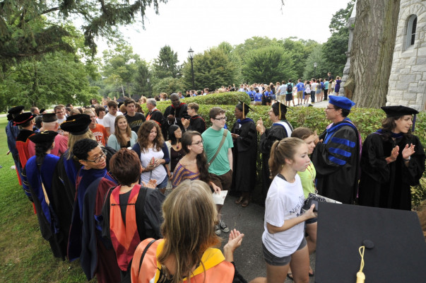 New students are greeted during Academic Convocation in 2013.