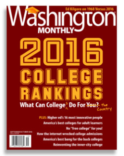 "Cover of the ""Washington Monthly"" 2016 College Rankings"