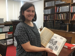Shelby Bryant '18 looks through the Ursinus College archives for Bears Make History.