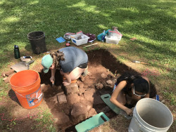 Ursinus students work in select areas on the property to uncover artifacts and discover forgotten structures.