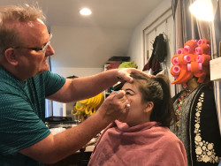 Brian Strachan, a professional costume designer and makeup artist, as well as an adjunct professor at Ursinus, demonstrate...