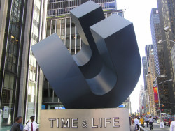 """Cubed Curve,"" once a familiar sight to millions in mid-town Manhattan, was donated to the Berman Museum by the Ro..."