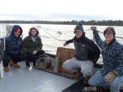 Ursinus students prepare to do research on Seneca Lake, one of the glacial Finger Lakes in upstate New York.