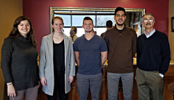Gemma Dufoe '20, Bridget Sherry '19, Brett Korn '20 and Jorge Arrisueno '20 (pictured left to right with Profe...